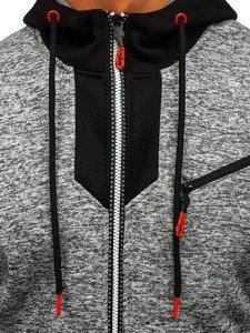 Bluza męska z kapturem rozpinana szara Denley TC813
