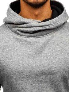 Bluza męska z kapturem szaro-czarna Denley 2078