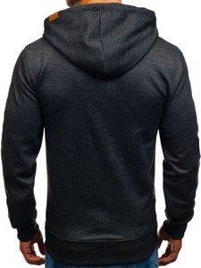 Bluza męska z kapturem z nadrukiem czarna Denley 3679