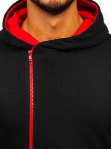 Bluza męska z kapturem z nadrukiem czarno-czerwona Bolf 01