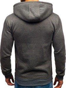 Bluza męska z kapturem z nadrukiem grafitowa Denley 11022