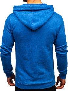 Bluza męska z kapturem z nadrukiem niebieska Denley 6216