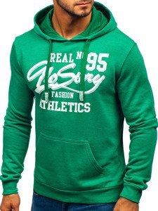 Bluza męska z kapturem z nadrukiem zielona Denley 6215