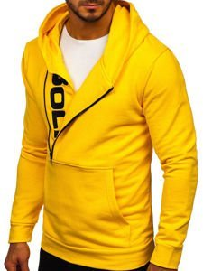 Bluza męska z kapturem z nadrukiem żółta Bolf 01