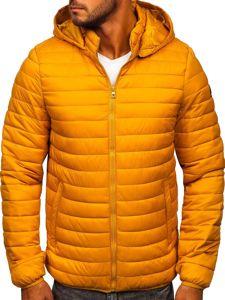 Camelowa pikowana przejściowa kurtka męska sportowa Denley B0104