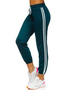 Ciemnozielone spodnie dresowe damskie Denley YW01020D