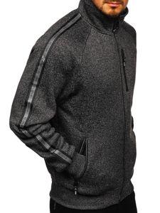 Czarna bez kaptura bluza męska rozpinana Denley TC1001