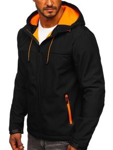 Czarna kurtka męska przejściowa softshell Denley KS2196