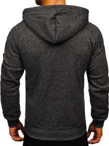 Czarna z kapturem bluza męska rozpinana Denley TC1000