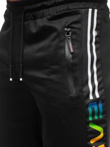 Czarne dresowe krótkie spodenki męskie Denley JX336