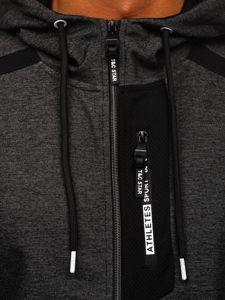 Czarno-biała z kapturem bluza męska rozpinana Denley TC1027