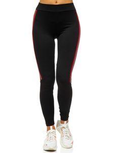 Czarno-czerwone legginsy damskie Denley W82331