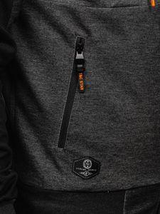 Czarno-pomarańczowa z kapturem bluza męska rozpinana Denley TC1012