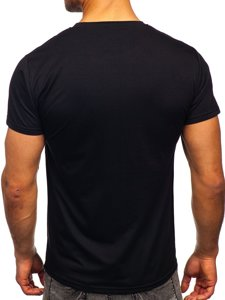 Czarny T-shirt męski z nadrukiem Denley KS2371