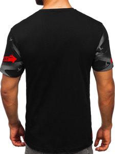 Czarny t-shirt męski z nadrukiem Bolf 142177