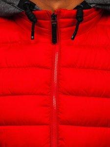 Czerwona pikowana kamizelka męska z kapturem Denley B2901