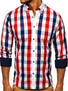 Czerwona w kratę koszula męska z długim rękawem Bolf 9718
