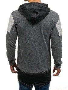 Długa bluza męska z kapturem grafitowy Denley NRT540