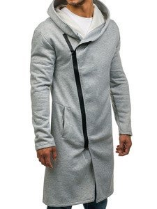 Długa bluza męska z kapturem szara Denley 2037