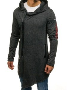 Długa bluza męska z kapturem z nadrukiem grafitowa Denley 0913
