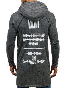Długa bluza męska z kapturem z nadrukiem grafitowa Denley 452