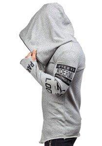 Długa bluza męska z kapturem z nadrukiem szara Denley 2036