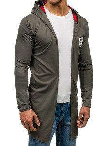Długa bluza męska z kapturem z nadrukiem zielona Denley 452