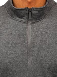 Grafitowa bez kaptura bluza męska rozpinana Denley JX9832