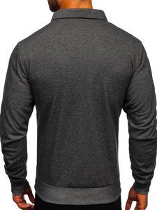 Grafitowo-biała bez kaptura bluza męska rozpinana z nadrukiem Denley TC1019