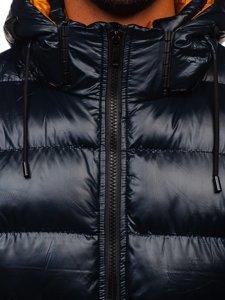Granatowa pikowana kurtka męska zimowa Denley 6461
