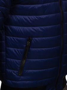 Granatowa przejściowa kurtka męska pikowana bomberka Denley MY-02