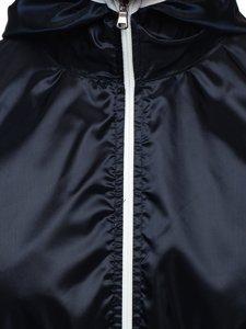 Granatowa przejściowa kurtka męska wiatrówka z kapturem BOLF 5060