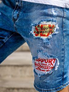Granatowe jeansowe krótkie spodenki męskie Denley KG3872