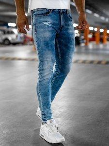 Granatowe jeansowe spodnie męskie skinny fit Denley KX526