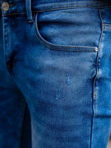 Granatowe spodnie jeansowe męskie skinny fit Denley KX398