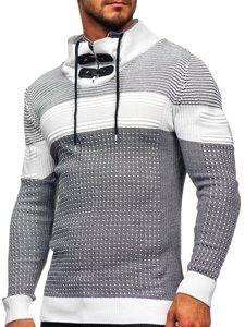 Gruby biały sweter męski ze stójką Denley 1035