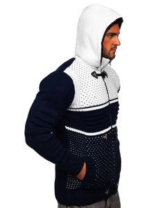 Gruby granatowy rozpinany sweter męski z kapturem kurtka Denley 2047