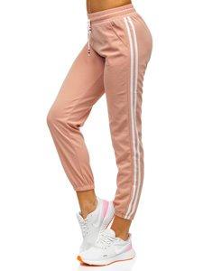 Jasnoróżowe spodnie dresowe damskie Denley YW01020D