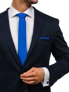 Komplet męski krawat, spinki, poszetka chabrowy Denley KSP01