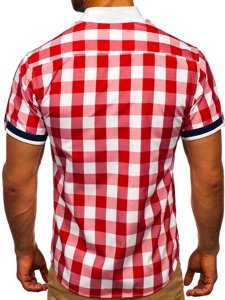 Koszula męska elegancka w kratę z krótkim rękawem czerwona Bolf 8901