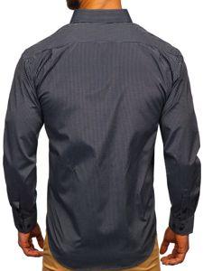 Koszula męska elegancka w paski z długim rękawem czarna Denley NDT10