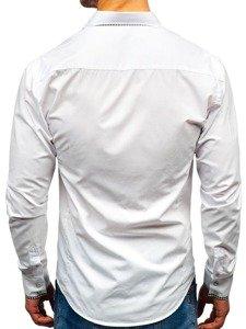 Koszula męska elegancka z długim rękawem biała Bolf 0939