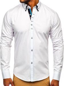 Koszula męska elegancka z długim rękawem biała Bolf 3708