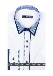 Koszula męska elegancka z długim rękawem biała Bolf 4774
