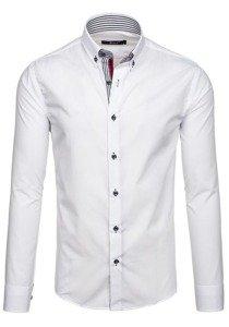 Koszula męska elegancka z długim rękawem biała Bolf 6943