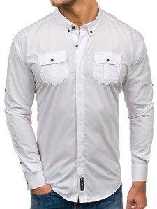 Koszula męska elegancka z długim rękawem biała Denley 0780