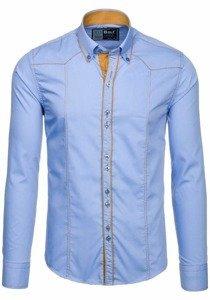 Koszula męska elegancka z długim rękawem błękitna Bolf 4777
