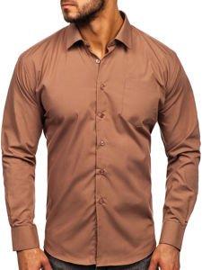 Koszula męska elegancka z długim rękawem brązowa Denley 0003