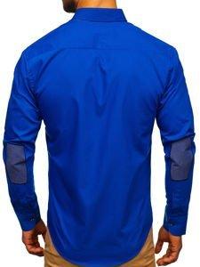 Koszula męska elegancka z długim rękawem chabrowa Bolf 3725