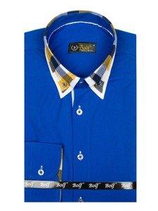 Koszula męska elegancka z długim rękawem chabrowa Bolf 6966